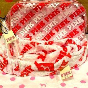 🌺NWT VS Pink Wristlet Bag /Towel Head Wrap Set